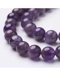 Ametisto karoliukai, apvalūs, violetiniai, matmenys: 10mm, skylė: 1mm, apie 40 vnt./gijoje