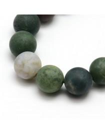 Indiško agato karoliukai, apvalūs, matiniai, margi, matiniai:  10mm, skylė: 1mm; apie 37~39vnt./ gijoje