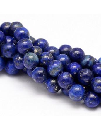 Lazurito karoliukai, apvalūs, dažyti, mėlyni, matmenys: 10mm, skylė: 1mm; apie 38vnt./gijoje