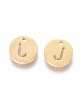 Aukso spalvos, nerūdijančio plieno pakabukai, apvalūs, plokšti, raidė J,  matmenys: 10x1.5mm, skylė: 1mm