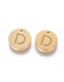 Aukso spalvos, nerūdijančio plieno pakabukas, apvalus, plokščias, raidė D,  matmenys: 10x1.5mm, skylė: 1mm