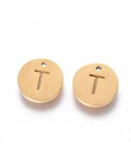 Aukso spalvos, nerūdijančio plieno pakabukas, apvalus, plokščias, raidė T,  matmenys: 10x1.5mm, skylė: 1mm
