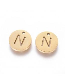 Aukso spalvos, nerūdijančio plieno pakabukas, apvalus, plokščias, raidė N,  matmenys: 10x1.5mm, skylė: 1mm