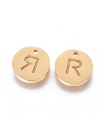Aukso spalvos, nerūdijančio plieno pakabukas, apvalus, plokščias, raidė R,  matmenys: 10x1.5mm, skylė: 1mm
