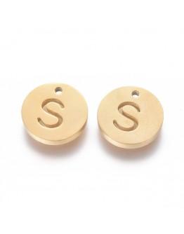 Aukso spalvos, nerūdijančio plieno pakabukas, apvalus, plokščias, raidė S,  matmenys: 10x1.5mm, skylė: 1mm
