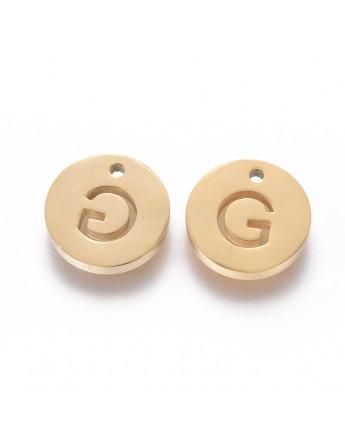 Aukso spalvos, nerūdijančio plieno pakabukas, apvalus, plokščias, raidė G,  matmenys: 10x1.5mm, skylė: 1mm