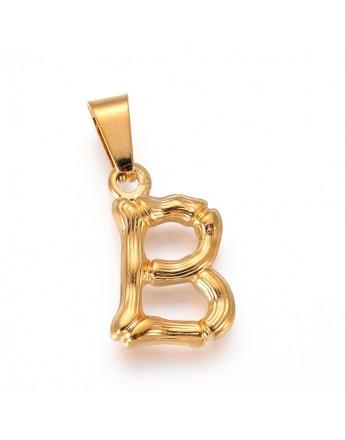 Aukso spalvos, nerūdijančio plieno pakabukas, raidė B, matmenys:18x12x3mm, skyl4: 3x7mm