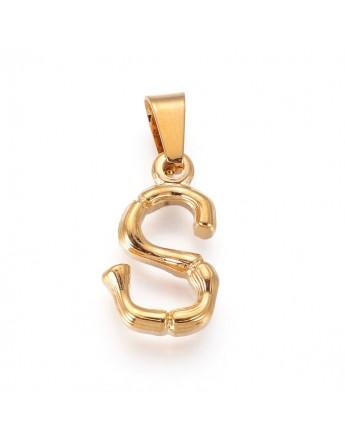 Aukso spalvos, nerūdijančio plieno pakabukas, raidė S, matmenys:19x11x3.5mm, skylė: 3x7mm