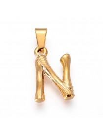 Aukso spalvos, nerūdijančio plieno pakabukas, raidė N, matmenys:19x13x3mm, skylė: 3x7mm