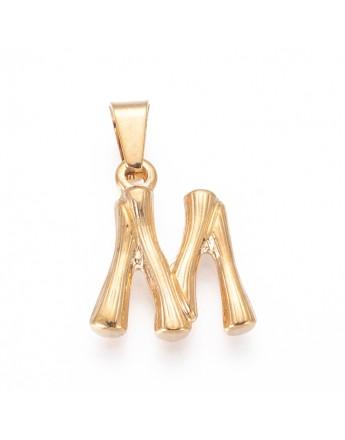 Aukso spalvos, nerūdijančio plieno pakabukas, raidė M, matmenys:19x16x3mm, skylė: 3x7mm