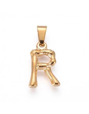 Aukso spalvos, nerūdijančio plieno pakabukas, raidė R, matmenys:18.5x12x3mm, skylė: 3x7mm