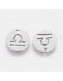 Nerūdijančio plieno pakabukas, svarstyklių zodiako ženklas, apvalus, plokščias, matmenys:12x1mm, skylė: 1mm