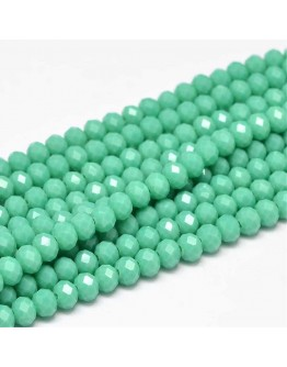 Faceted Abacus Glass Beads Strands, MediumAquamarine, 6x4mm, Hole: 1mm; about 99pcs/strand, 17.7""