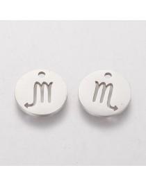 Nerūdijančio plieno pakabukas, skorpiono zodiako ženklas, apvalus, plokščias, matmenys:12x1mm, skylė: 1mm