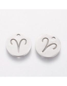 Nerūdijančio plieno pakabukas, avino zodiako ženklas, apvalus, plokščias, matmenys:12x1mm, skylė: 1mm