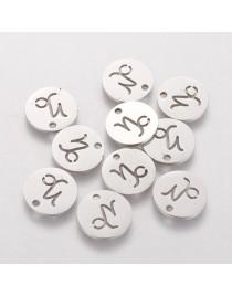 Nerūdijančio plieno pakabukas, ožiaragio zodiako ženklas, apvalus, plokščias, matmenys:12x1mm, skylė: 1mm