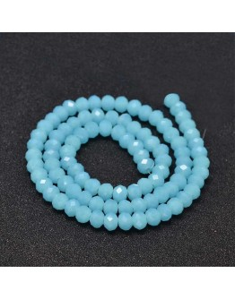 Faceted Abacus Glass Beads Strands, SkyBlue, 6x4mm, Hole: 1mm; about 99pcs/strand, 17.7""