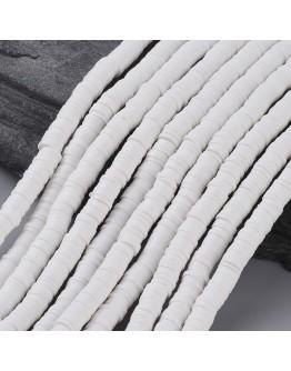 Polimerinio molio diskeliai, baltos spalvos, matmenys: 6x1mm, skylė: 2mm; ~380-400 vnt./gijoje