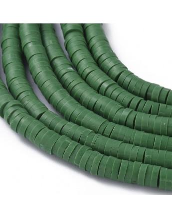 Polimerinio molio diskeliai, alyvuogių spalvos, matmenys: 4x1mm, skylė: 1mm; ~380-400 vnt./gijoje
