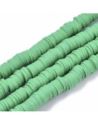 Polimerinio molio diskeliai, žalios spalvos, matmenys: 6x0.5~1mm, skylė: 1.8mm, ~320-447 vnt./gijoje