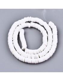 Polimerinio molio diskeliai, baltos spalvos, matmenys: 6x0.5~1mm, skylė: 1.8mm, ~320-447 vnt./gijoje