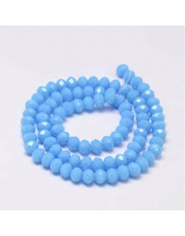 """Faceted Abacus Glass Beads Strands, LightBlue, 6x4mm, Hole: 1mm; about 99pcs/strand, 17.7"""""""