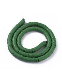 Polimerinio molio diskeliai, tamsiai žalios spalvos, matmenys: 6x1mm, skylė: 2mm, ~380-400 vnt./gijoje