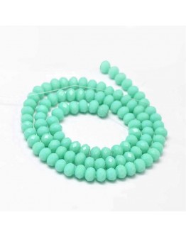 Faceted Abacus Glass Beads Strands, Aquamarine, 6x4mm, Hole: 1mm; about 99pcs/strand, 17.7""