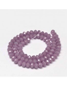 Faceted Abacus Glass Beads Strands, OldRose, 6x4mm, Hole: 1mm; about 99pcs/strand, 17.7""