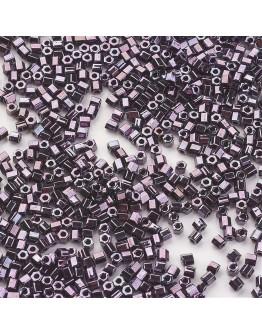 TOHO® Japoniški stiklo karoliukai, šešiakampio cilindro formos, metalic violetiės spalvos, matmenys: 2x2mm, skylė: 0.6mm; ~10 g.