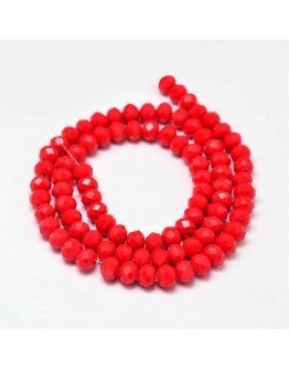 Faceted Abacus Glass Beads Strands, Red, 6x4mm, Hole: 1mm; about 90pcs/strand, 16""