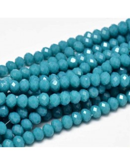 Faceted Abacus Glass Beads Strands, SteelBlue, 6x4mm, Hole: 1mm; about 99pcs/strand, 17.7""