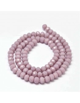 Faceted Abacus Glass Beads Strands, Thistle, 6x4mm, Hole: 1mm; about 99pcs/strand, 17.7""