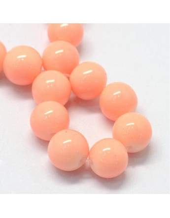 """Baking Painted Glass Round Bead Strands, PeachPuff, 8.5~9mm, Hole: 1.5mm; about 105pcs/strand, 31.8"""""""