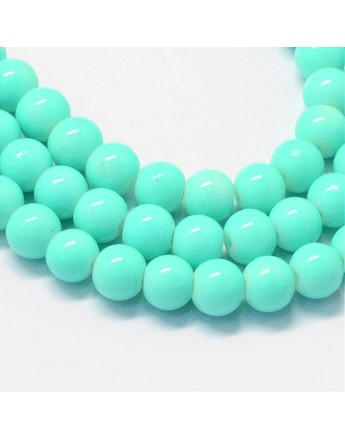"""Baking Painted Glass Round Bead Strands, Cyan, 8.5~9mm, Hole: 1.5mm; about 105pcs/strand, 31.8"""""""