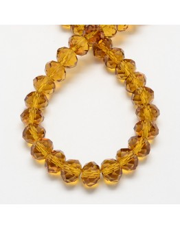 Handmade Glass Beads, Imitate Austrian Crystal, Faceted Abacus, Goldenrod, 6x4mm, Hole: 1mm; about 100pcs/strand