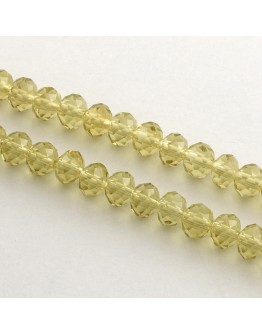 Handmade Glass Beads, Imitate Austrian Crystal, Faceted Abacus, Khaki, 6x4mm, Hole: 1mm; about 100pcs/strand