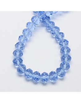Handmade Glass Beads, Imitate Austrian Crystal, Faceted Abacus, CornflowerBlue, 6x4mm, Hole: 1mm; about 100pcs/strand