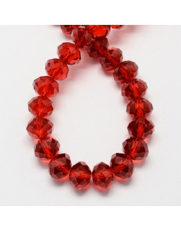 """Transparent Glass Beads Strands, Faceted, Abacus, Red, 4x3mm; Hole: 1mm, about 150pcs/strand, 18.9"""""""