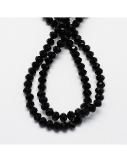 """Glass Beads Strands, Faceted, Abacus, Black, 4x3mm; Hole: 1mm, about 150pcs/strand, 18.9"""""""