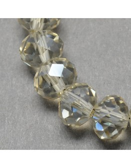 Handmade Glass Beads, Imitate Austrian Crystal, Faceted Abacus, Beige, 6x4mm, Hole: 1mm; about 100pcs/strand