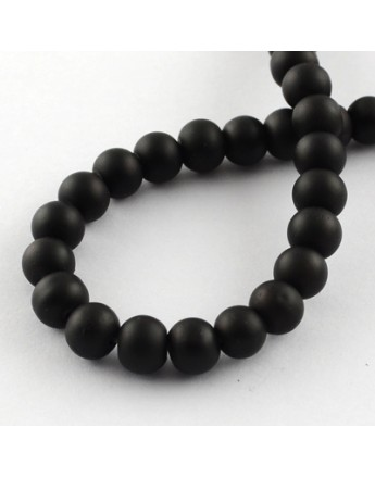 Painted Glass Bead Strands, Rubberized Style, Round, Black, 8mm; Hole: 1.3~1.6mm; about 100pcs/strand, 31.4""