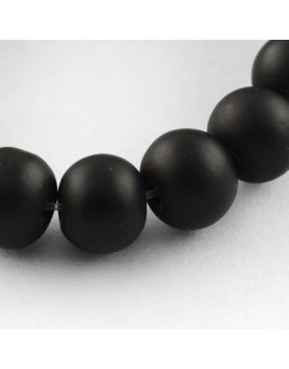 """Painted Glass Bead Strands, Rubberized Style, Round, Black, 8mm; Hole: 1.3~1.6mm; about 100pcs/strand, 31.4"""""""