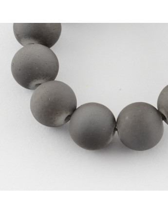 """Painted Glass Bead Strands, Rubberized Style, Round, DarkGray, 8mm; Hole: 1.3~1.6mm; about 100pcs/strand, 31.4"""""""