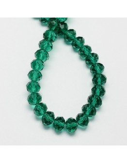 Handmade Glass Beads, Imitate Austrian Crystal, Faceted Abacus, SeaGreen, 8x6mm, Hole: 1mm; about 72pcs/strand