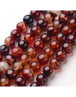Natural Striped Agate Beads Strands, Round, Dyed & Heated, 8mm, Hole: 1mm; about 48pcs/strand, 14.1""