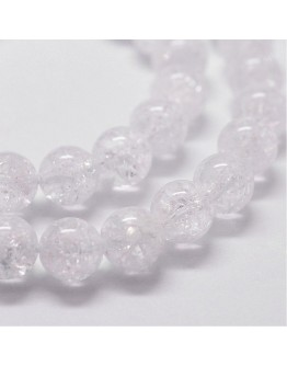 "Natural Crackel Quartz Beads Strands, Round, 8mm, Hole: 1mm; about 51pcs/strand, 14.9""~15.1"""