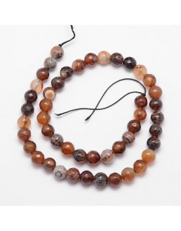 Natural Fire Agate Bead Strands, Round, Faceted, Dyed & Heated, CoconutBrown, 8mm, Hole: 1mm; about 47pcs/strand, 15""