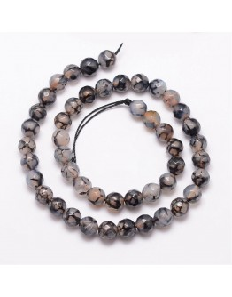 """Natural Dragon Veins Agate Bead Strands, Round, Faceted, Dyed & Heated, Black, 8mm, Hole: 1mm; about 47pcs/strand, 15"""""""
