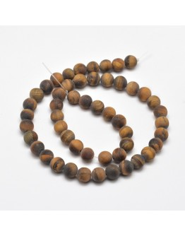 Frosted Natural Tiger Eye Round Bead Strands, 8mm, Hole: 1mm; about 48pcs/strand, 15.5""
